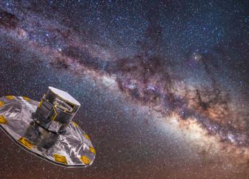Fig . Il Satellite Gaia (Global Astrometric Interferometer for Astrophysics) svolge una missione spaziale astrometrica sviluppata dall'Agenzia Spaziale Europea. Gaia sta creando una mappa tridimensionale molto precisa della porzione di Galassia vicina a noi, e una mappa meno accurata ma comunque dettagliata del resto, sfruttando le stelle più luminose e visibili a grandi distanze. La mappa comprenderà sia la posizione che le velocità delle stelle, in modo da poter studiare l'evoluzione della Galassia